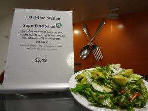 "A featured salad at Valley Medical Center marked with their new ""Go for It!"" logo."
