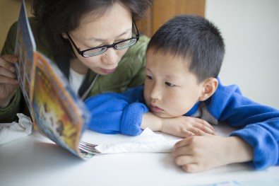reading - mom and boy