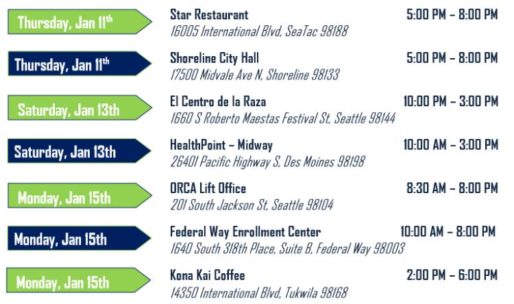 Thursday, Jan. 11 Star Restaurant 5:00 PM – 8:00 PM, 16005 International Blvd, SeaTac 98188. Shoreline City Hall 5:00 PM – 8:00 PM