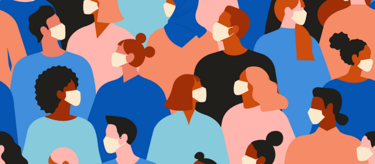 Illustrative graphic of people of all different skin colors and hair types in a crowd wearing masks