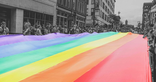 Pride crowd in black and white with rainbow flag in colour