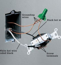 one type of receptacle rated for 240 volts has two incoming hot wires and no neutral wire a grounding wire is pigtailed to the receptacle and to the metal  [ 922 x 862 Pixel ]