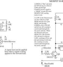 this sets q4 and q1 into conduction allowing current to pass through the motor in the opposite direction the mosfet h bridge works in a similar manner  [ 1586 x 756 Pixel ]