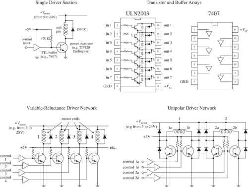 small resolution of the 7407 buffer ic can be used with the uln2003 to construct a full stepper driver other ics such as motorola s mc1414 darlington array ic