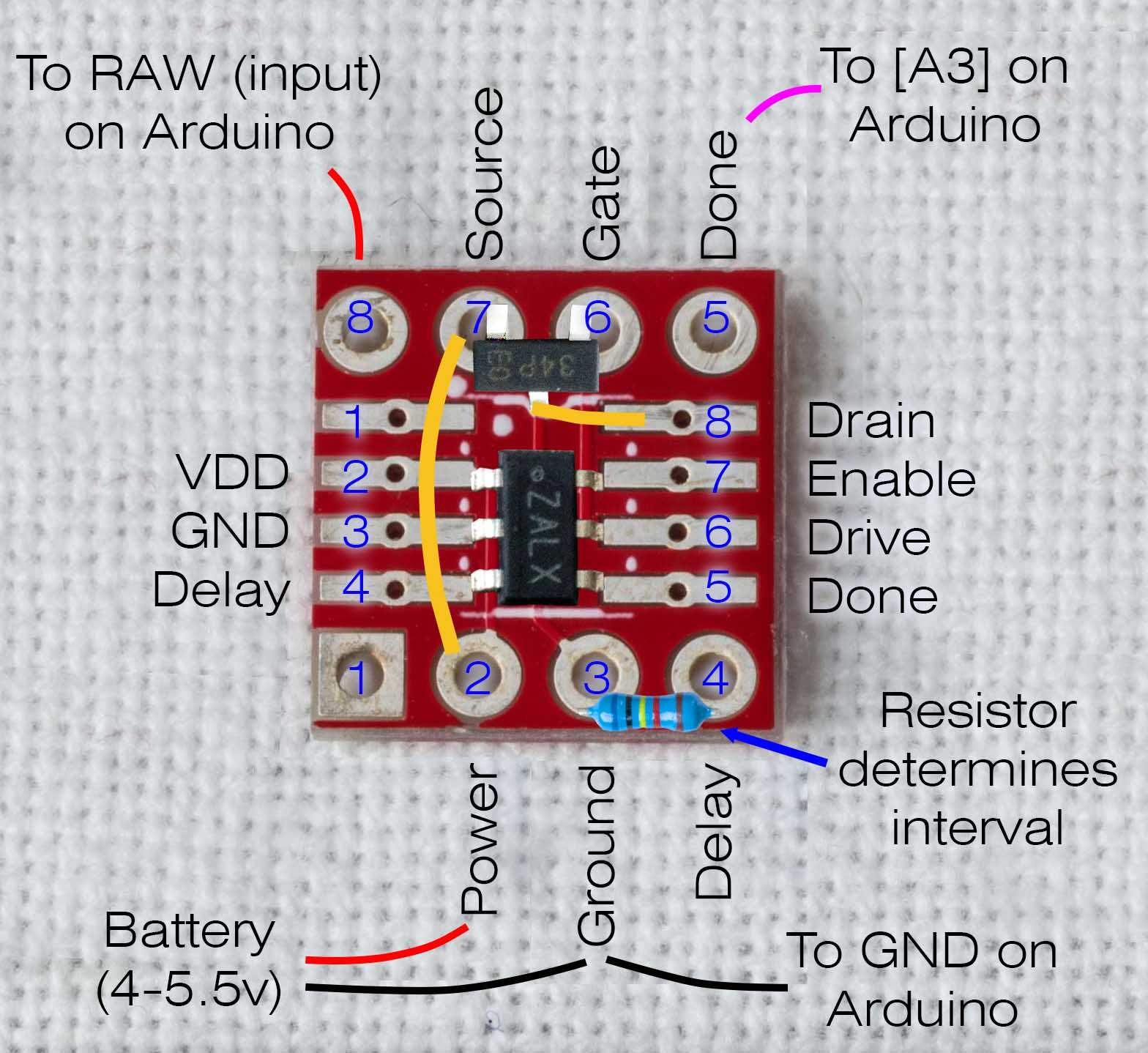 hight resolution of build diagram for log a long timer solder pads 1 8 connect with pcb copper traces to pin holes 1 8 respectively only number 1 is not used