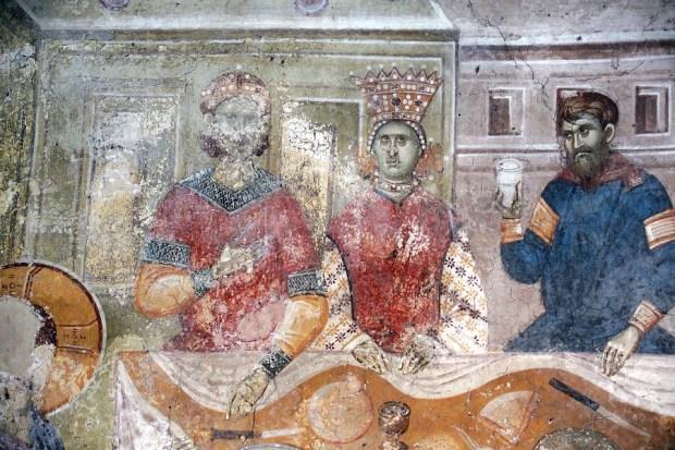 Свадба у Кани, детаљ младенаца, 1320-21, фреска. Манастир Грачаница, наос, западни зид (фотографија обезбеђена из фонда БЛАГО, САД/Србија, http://www.srpskoblago.org/)