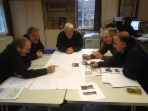 A working group from Albury parish council. Chairman of the PC, project champion sorting out project details with county highway authority, local highways manager