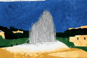 Painting of the proposed Israeli-Palestinian Peace Monument, Jerusalem, 1996 © Jan Sawka