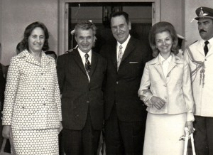 The Peróns (right) with the Ceausescu family of Romania © Unknown   Wikimedia Commons
