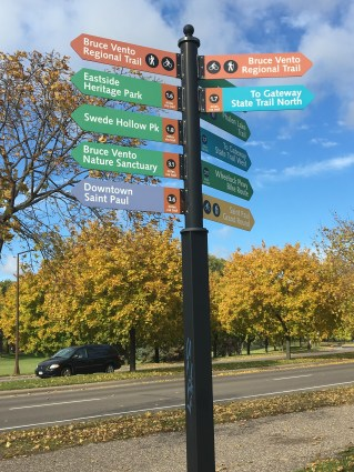 Signage denoting links to outside activities