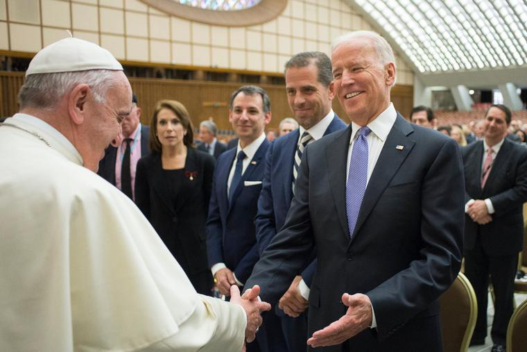 Pope Francis and U.S. Vice President Joe Biden at the International Conference on Regenerative Medicine in Vatican City on April 29, 2016.