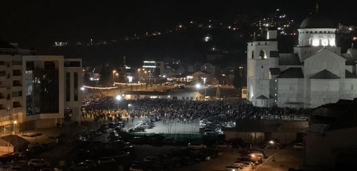 Detalj ispred Hrama u Podgorici večeras