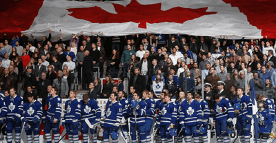 Leafs National Anthem Fans and Players