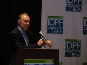 An animated Tim Berners-Lee speaks at the IDPF conference on publishing and Web technology. Image - Porter Anderson
