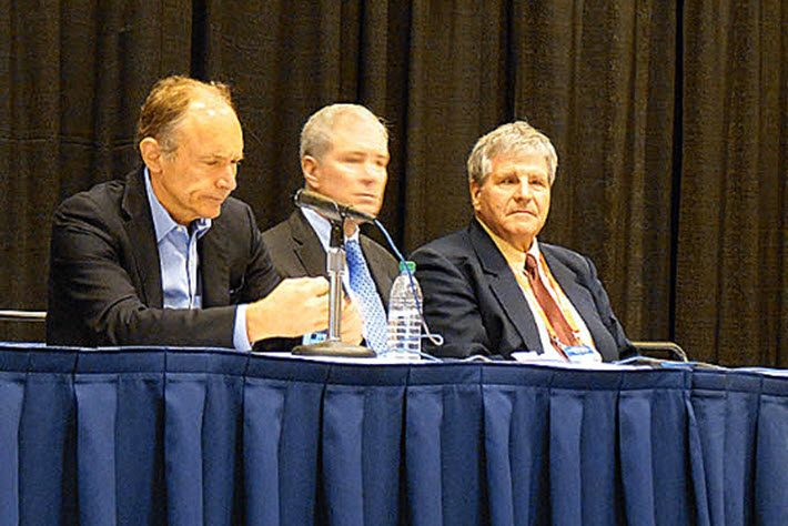 From left, W3C's Tim Berners-Lee, and IDPF's Bill McCoy and George Kerscher at Tuesday's news conference on the proposed IFPF-W3C merger. Image: Porter Anderson