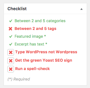 WordPress pre-publishing checklist