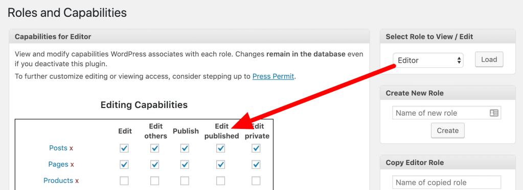 PublishPress Capabilities option for Edit Published permission