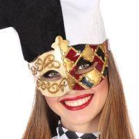 Masque vénitien noir, rouge et or