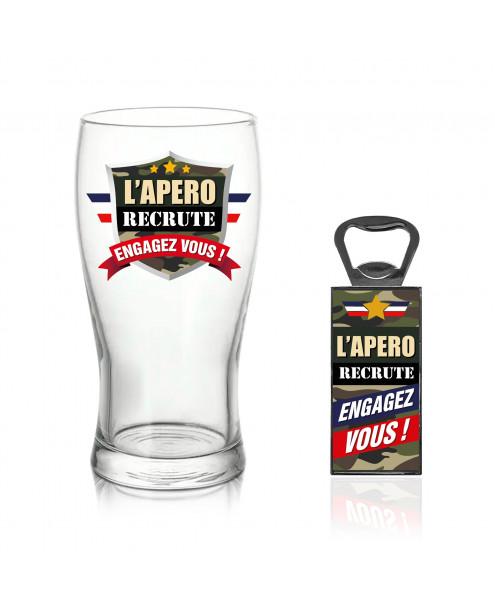 """Verre à bière + Décapsuleur """"L'apéro recrute"""""""