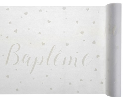 Chemin de table Baptême Blanc