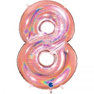 "Ballon chiffre ""8"" alu 102 cm glitter rose gold"