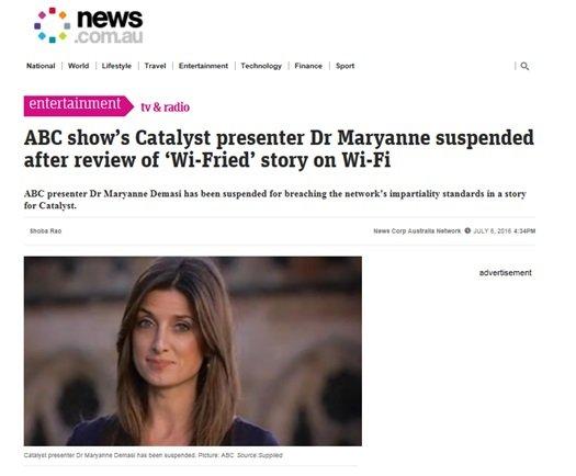 Prezenterka programu ABC Catalyst, dr Maryanne, została zawieszona po omówieniu tematu Wi-Fi
