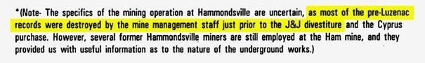 Notatka J&J ujawnia, że zapisy dotyczące kopalni Hammondsville, głównego źródła talku dla zasypki dla niemowląt