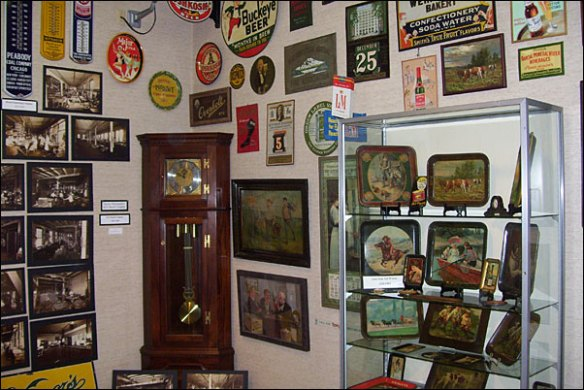Some of the hundreds of vintage promotional products detailing the history of the industry at The Johnson-Humrickhouse Museum in Coshocton, Ohio.
