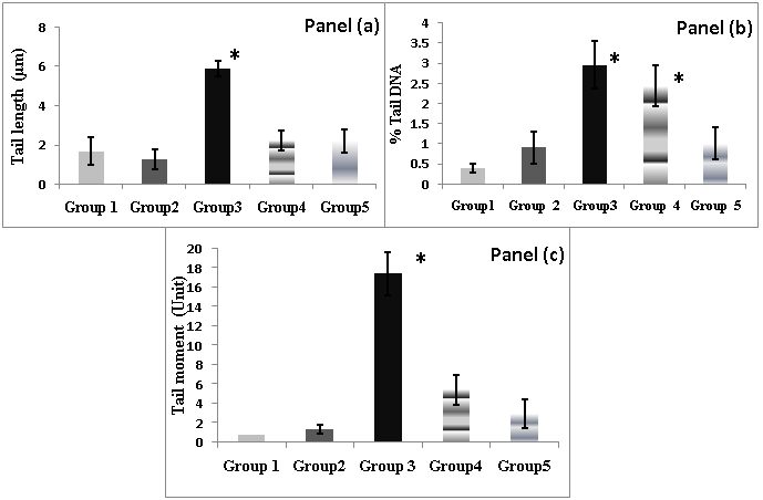 Figure 1. Comet assay parameters. Panel (a) is the tail
