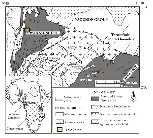 Figure 1. Geological map of South-West Cameroon after