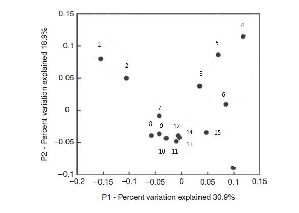Figure 3. Principal coordinates analysis of 15 Activated