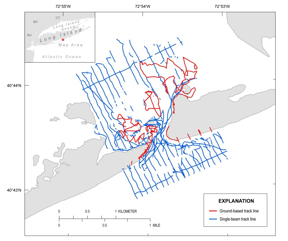 medium resolution of overview of the wilderness breach single beam and gps track line surveyed october 2014