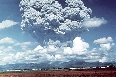 Eruption column of volcanic ash and gas rising above Mount Pinatubo on June 12, 1991