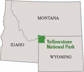 map of Idaho, Montana, and Wyoming showing Yellowstone in the middle