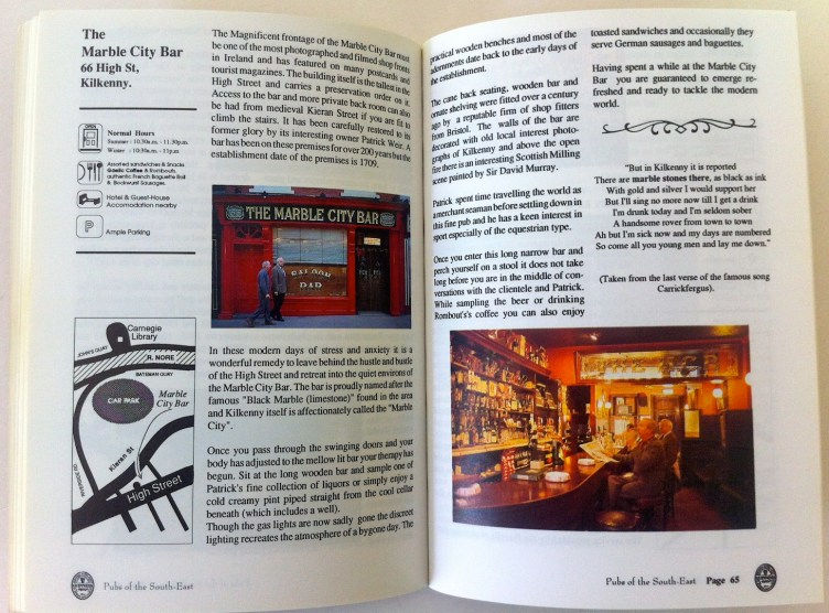 Marble City Bar - Kilkenny City. Pages from the 1991 book.