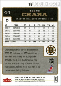 2006-07 Fleer #18 - Zdeno Chara (back)