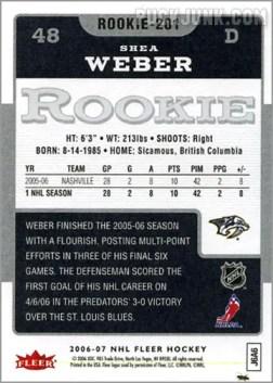 2006-07 Fleer #201 - Shea Weber (back)
