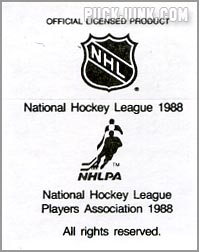 1988-89 Frito Lay Stickers - (back)