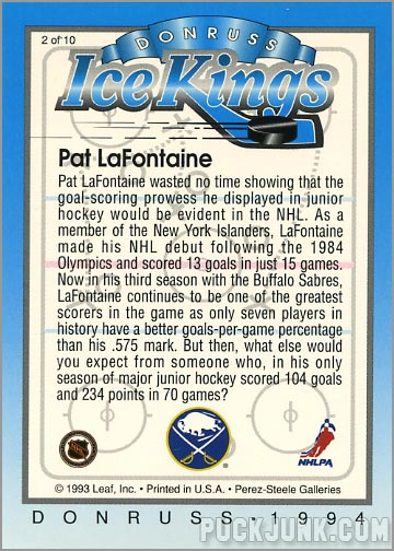 1993-94 Donruss Ice Kings Pat Lafontaine (back)