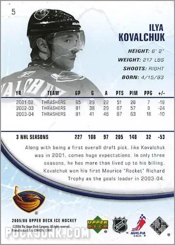 2005-06 Upper Deck Ice #5 - Ilya Kovalchuk (back)