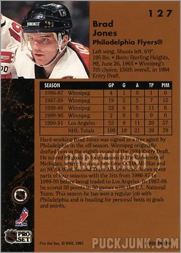 1991-92 Parkhurst #127 - Brad Jones (back)