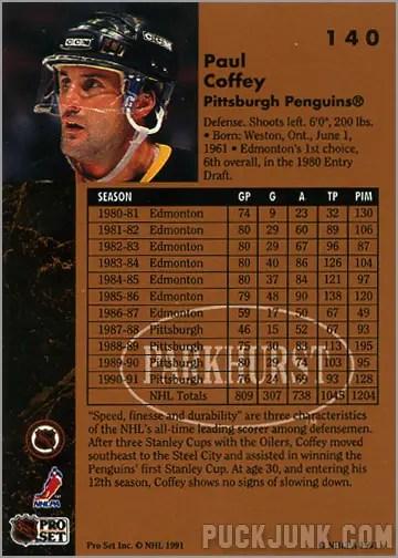 1991-92 Parkhurst #140 - Paul Coffey (back)