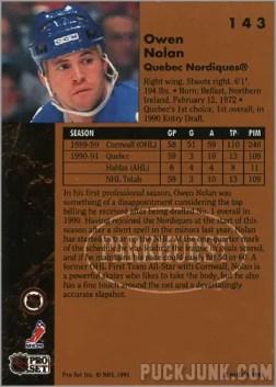 1991-92 Parkhurst #143 - Owen Nolan (back)