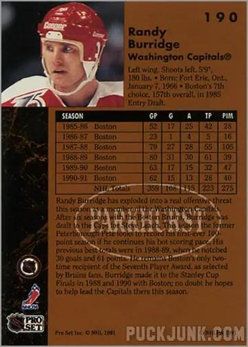 1991-92 Parkhurst #190 - Randy Burridge (back)