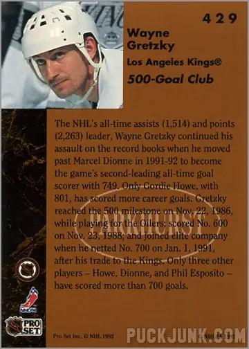 1991-92 Parkhurst #429 - Wayne Gretzky / 500 Goal Club (back)
