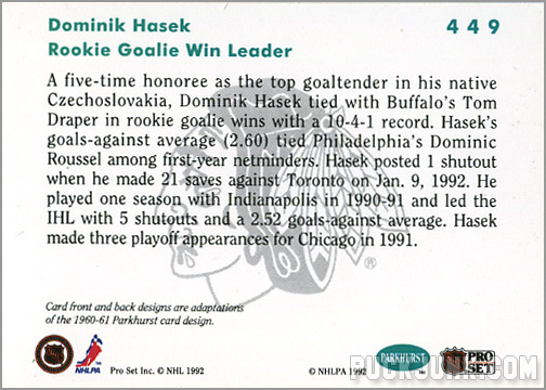 1991-92 Parkhurst #449 - Dominik Hasek / Rookie Leaders (back)