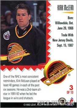 1992-93 Leaf Painted Warriors Kirk McLean (back)