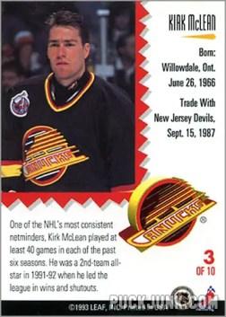 1992-93 Leaf Painted Warriors Kirk McLean (back)