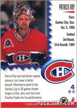 1992-93 Leaf Painted Warriors Patrick Roy (back)