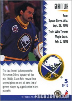 1992-93 Leaf Painted Warriors Grant Fuhr (back)